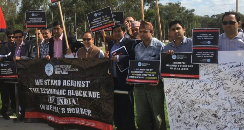 Nepalis demonstrate against blockade in Australia